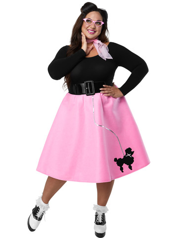 Adult Plus Pink Poodle Skirt Costume