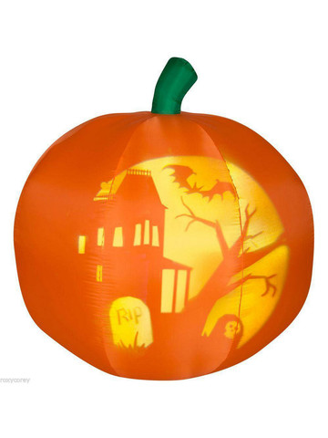 Airblown Pumpkin with Silhouette Projected Scene