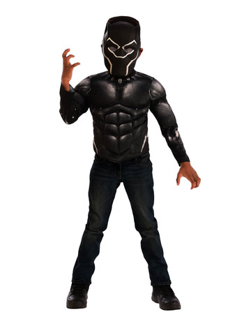 Muscle Chest Black Panther Shirt Set Costume