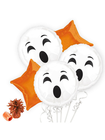 Halloween Ghost Emoji Balloon Bouquet Kit