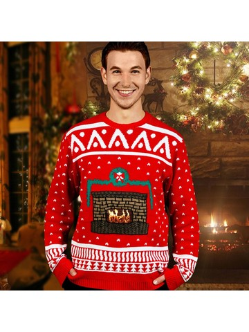 Men's Crackling Fireplace Sweater