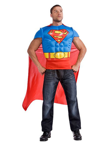 Mens Superman Adult Muscle Chest Top Costume