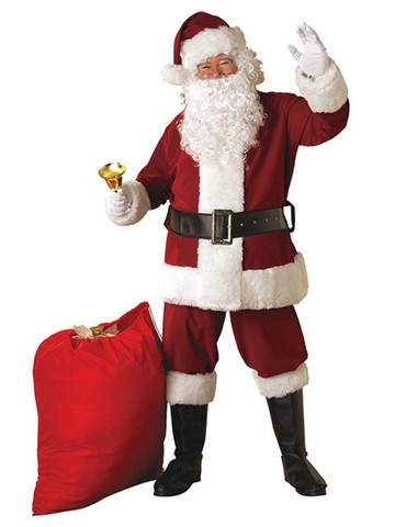 Men's Xl Crimson Regal Plush Santa Suit Costume