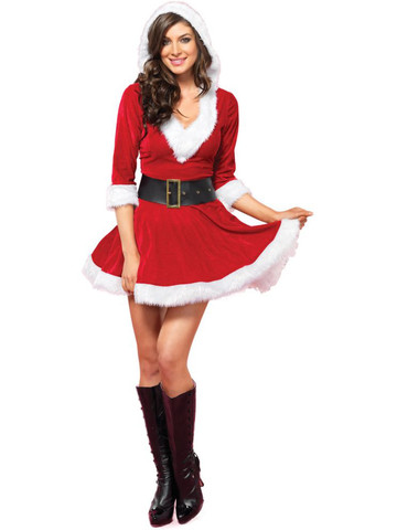 Mrs. Claus Velvet Hooded Dress