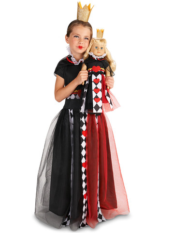 "Queen of Hearts Child Costume M (8-10) with Matching 18"" Doll Costume"