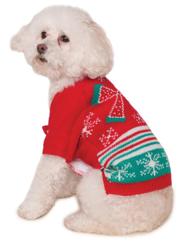Pet's Ugly Christmas Sweater with Bow Costume