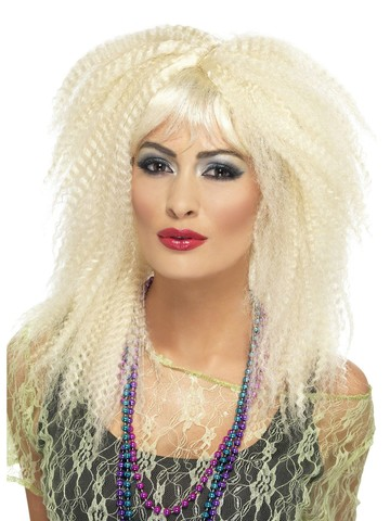 Women's 1980's Blonde Crimped Wig