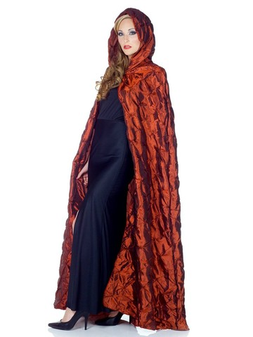 "Womens 63"" Red Taffeta Pin Tuck Adult Cape"