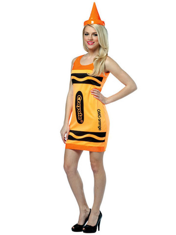 Women's Crayola Neon Orange Dress Adult Costume