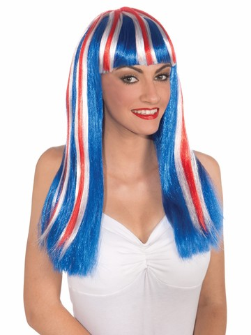 Women's Red, White and Blue Patriotic Wig